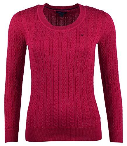6dd58d3d7594 Tommy Hilfiger Damen Zopf Pullover Pulli Strickpullover Rundhals pink Größe  S hfaJbp3l