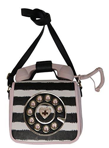 Betsey Johnson Phone Crossbody Pink Striped
