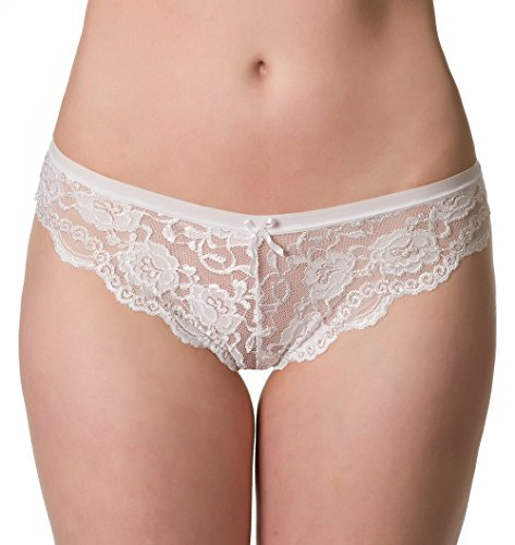 Velvet Kitten Sexy Lace Cheeky Tanga #152698 (Small, White) (White Panties)