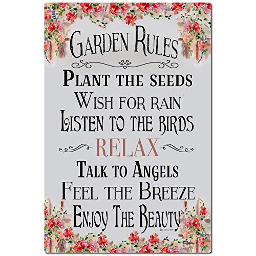- Dyenamic Art Garden Rules Sign Garden Sign 8x12 Indoor/Outdoor Aluminum Sign Home and Garden Decor Gardening Sign