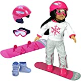 Doll Snow Board Set for 18 Inch Dolls and American Girl Dolls, Doll Accessory Set Includes; Doll Goggles, Doll Helmet & Snowboard, Doll and Doll Clothes are not included, Doll Furniture