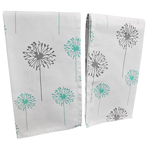"Premium Quality Set Of 2 Kitchen Dish Towels by Crabtree Collection – 100% Cotton Absorbent Tea Towels – Classy Turquoise and Grey Dandelion Design – Ideal 18"" x 28"" Dimensions Decorator 18 Towel Bar"