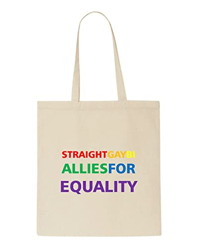 d18a456d4 Straight Gay Bi Allies For Equality Rainbow Text Tote Bag Shopper - Natural:  Amazon.co.uk: Shoes & Bags