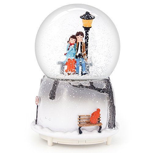 QTMY Musical Snow Globes Ornament Couple Lovers Music Boxes with Led Light Christmas Gift for Her (Water Globe Ornament)