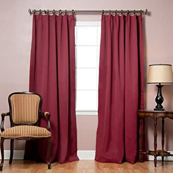 """Best Home Fashion Pinch Pleated Thermal Insulated Blackout Curtain - Antique Bronze Grommet Top - Burgundy - 40""""W x 84""""L - (Set of 2 Panels)"""