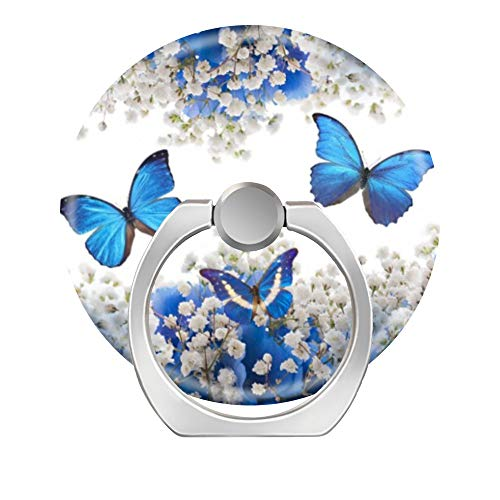 Toiur 360 Degree Rotation Cell Phone Ring Socket Grip Holder Finger Pop Stand with Car Mount Work for All Smartphone and Tablets - Beautiful Blue Butterflies