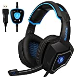 Sades PC Gaming Headset 7.1 Surround Sound USB Headset Over-ear Gaming headphones with Microphone for PC / Mac / Laptop - Black/Blue