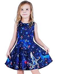 Girls Galaxy Printed Christmas Birthday Party Dress Galaxy L