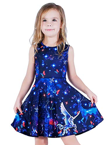 LaBeca Little Girls Galaxy Printed Christmas Birthday Party Dress Galaxy S