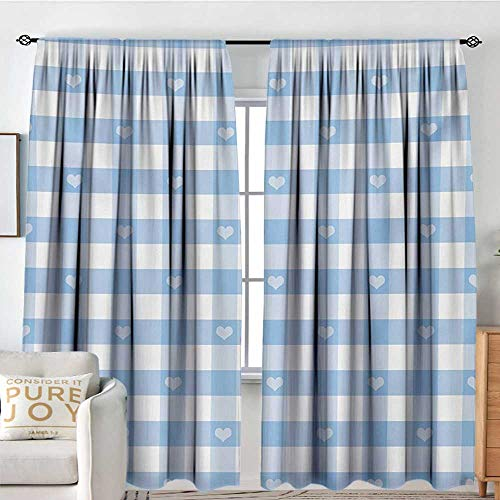 NUOMANAN White Curtains Checkered,Gingham Motif with Cute Little Hearts Pastel Blue Baby Shower Kids Theme,Pale Blue White,Decorative Curtains for Living Room and Bedroom - Basics Tab Gingham Top