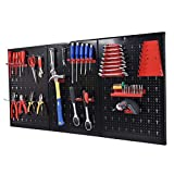 Toolsempire Metal Pegboard 24'' x 48'' Panels Garage Tool Board Storage Organizer Holder Garage Storage Black with Hooks hanging boards for tools long handle tool hooks