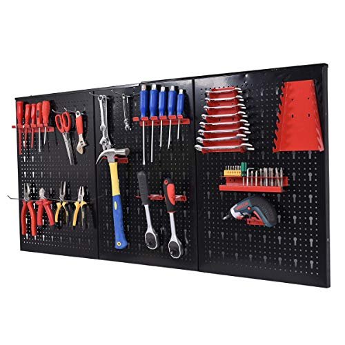 "Toolsempire Metal Pegboard 24"" x 48"" Panels Garage Tool Board Storage Organizer Holder Garage Storage Black with Hooks hanging boards for tools long handle tool hooks"