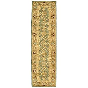 """Safavieh Anatolia Collection AN549B Handmade Teal Blue and Taupe Wool Runner, 2 feet 3 inches by 8 feet (2'3"""" x 8')"""