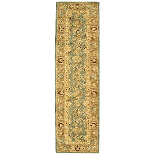 Safavieh Anatolia Collection AN549B Handmade Traditional Oriental Teal Blue and Taupe Wool Runner (2'3