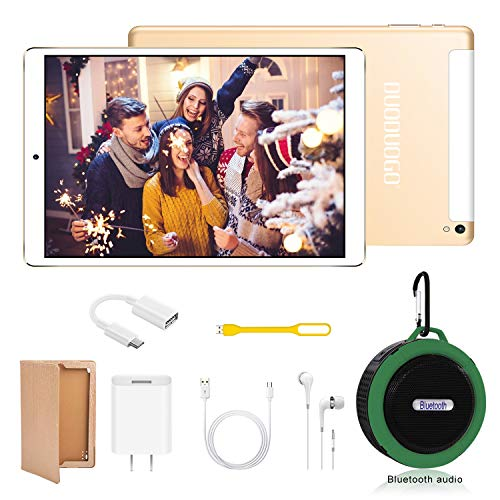 DUODUOGO K6 10.1 inch Tablet+Bluetooth Speaker 2-in-1, Android 9.0, 4GB RAM+64GB ROM, Dual SIM/WiFi, Quad-Core Processor, Dual Camera 5MP + 8MP, 7200mAhTablet, 8W Stereo Sound, Bluetooth 5.0 (Gold)