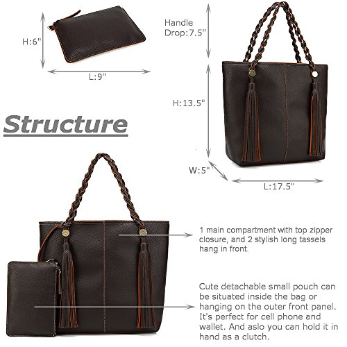 Women Tote Hobo Shoulder Purse Lightweight Handbag Soft Vegan Ladies Coffe Tassel Leather Large Bag rdrZHCwqn