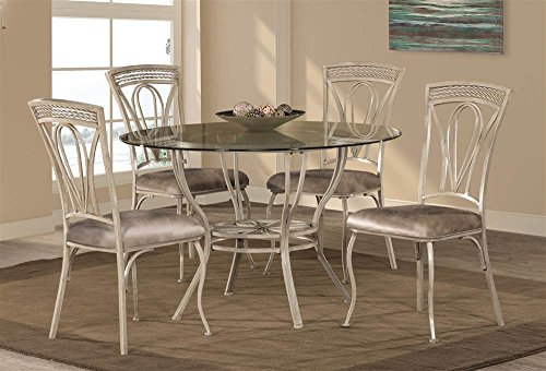 5-Pc Round Dining Table Set in Aged Ivory Finish