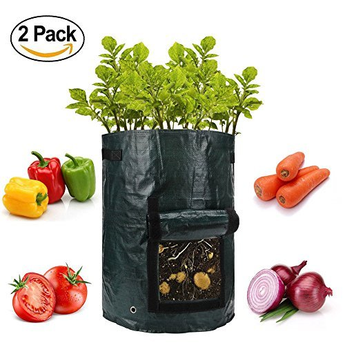 lychee Vegetables Grow Bag, 10 Gallon PE Potato Planter Bag Vegetable Container Bag with Handles, Pack of 2, 13.78''19.68'' by lychee
