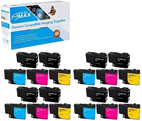 8-BK//4-C//M//Y SuppliesMAX Compatible Replacement for Brother HL-6000//MFC-J5845//J5945//J6545//J6945DW Super High Yield Inkjet Combo Pack LC-3237XL-8BK4CMY