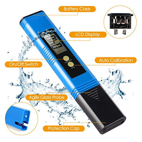 Yeslike Digital PH Meter, PH Meter 0.01 PH High Accuracy Water Quality Tester with 0-14 PH Measurement Range for Household Drinking, Pool and Aquarium Water PH Tester Design with ATC (Blue) by Yeslike (Image #5)