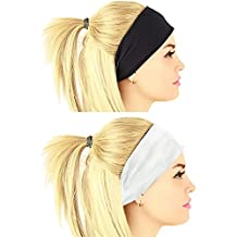 ASYOU 2 Pack Stretch & Moisture Wicking Athletic Sport Sweatband Headband for Sports or Fashion,Yoga or Travel