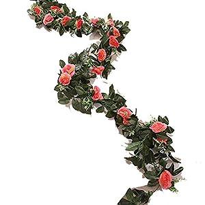 Luccaful 2.4m/7.8ft Artificial Silk Rose Flower Wisteria Vine Rattan Hanging Flower Garland for Wedding Party Home Garden Decoration,06 2