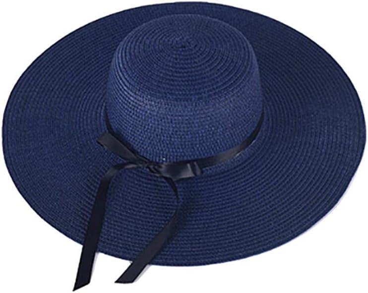 Damen Schleife Faltbar UV Schutz Sonnenhut Strohhut Strandhut Sommerhut Floppy Hut Khaki