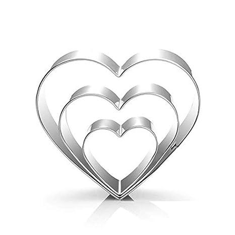 Cosanter Moldes para Cortar Galletas moldes de Galletas Acero Inoxidable Forma de corazon para Hornear Fondant