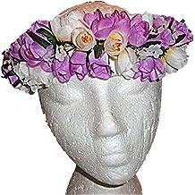 HAWAIIAN PURPLE & WHITE ROSES FLOWERS SILK HAKU HEAD LEI HULA LUAU GRADUATION