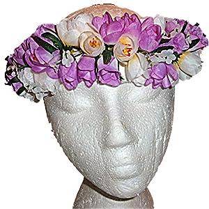 HAWAIIAN PURPLE & WHITE ROSES FLOWERS SILK HAKU HEAD LEI HULA LUAU GRADUATION 9