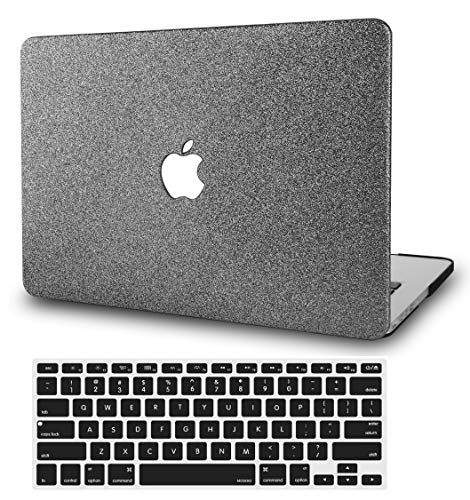 """KECC Laptop Case for MacBook Air 13"""" Retina (2020/2019/2018, Touch ID) w/Keyboard Cover Plastic Hard Shell Case A1932 2 in 1 Bundle (Grey Sparkling)"""