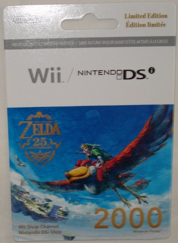 Nintendo Wii 2000 Points Card - Wii 2000 Points on a Limited Edition Legend of Zelda 25th Anniversary Card Nintendo (Wii/DSi)