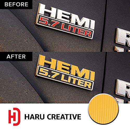 - Haru Creative - HEMI 5.7L Fender Badge Emblem Letter Overlay Vinyl Decal Sticker Compatible with and Fits Ram 1500 (2013-2018) and Rebel (2015-2018) - Carbon Fiber Yellow