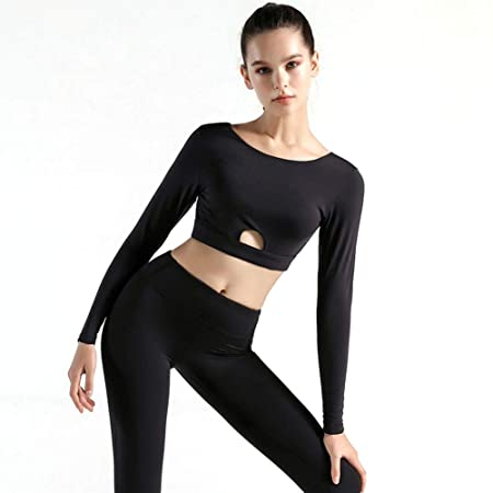 WYOUTDOOR Las Mujeres Crop Top, de Manga Larga Yoga Fitness ...
