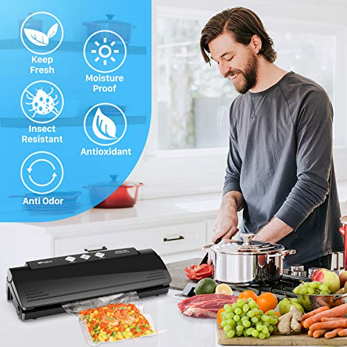 Vacuum Sealer, Automatic Food Vacuum Sealer Machine for Food Preservation Sous Vide, Multifunction Vacuum Sealing System with 10 Seal Bags and 1 Cutter, Dry and Moist Modes Compact Design