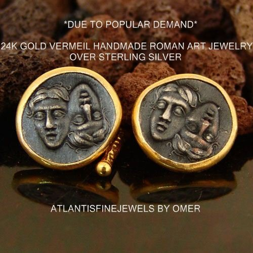 - Handmade Silver Coin Cufflinks 24k Yellow Gold Over 925k Sterling Silver By Omer
