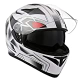1STorm Motorcycle Street Bike Dual Visor/Sun Visor Full Face Helmet Panther White, Size Medium (55-56 CM,21.7/22.0 Inch)