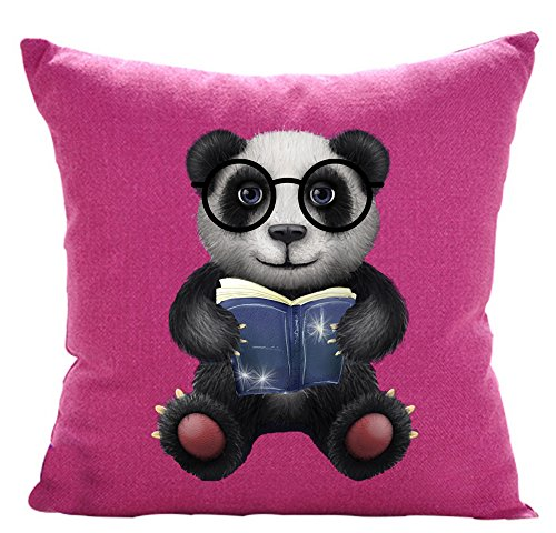 Funny Lovely Animals Abstract Adorable Panda Baby Wearing Glasses Reading Book Cotton Linen Throw Pillow Case Personalized Cushion Cover NEW Home Office Indoor Decorative Square 18 X 18 - Glass Panda