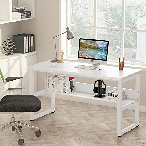 Tribesigns Computer Desk with Bookshelf Works as Office Desk Study Table Workstation for Home Office 55 , All White