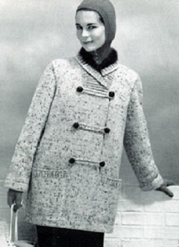Women S Silk Tweed Knitted Coat With Angora Collar Cuffs A