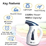Handheld Garment Steamer For Clothes And Fabric - 30 MINUTE Powerful Steam 2 Min Fast Heat-up - Huge 400ml Capacity 1100W Portable Clothes Steamer With 8ft Cord - Small To Use As Compact Travel Kettle