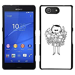 // PHONE CASE GIFT // Duro Estuche protector PC Cáscara Plástico Carcasa Funda Hard Protective Case for Sony Xperia Z3 Compact / cat lady funny cartoon drawing black /