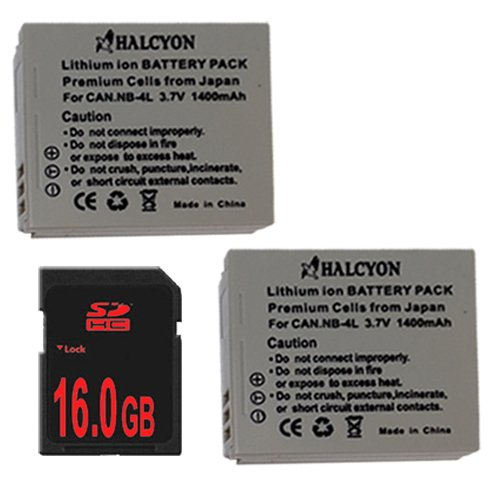 Sd750 Memory Card - TWO NB4L Lithium Ion Replacement Batteries + 16GB SDHC Memory Card for Canon PowerShot Elph 100 HS 300 HS, SD1000 IS, SD1400 IS, SD200, SD300, SD40, SD400, SD430, SD450, SD600, SD630, SD750, SD780 IS, SD940 IS, SD960 IS, TX1 Digital Cameras