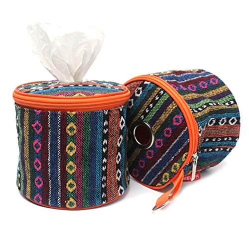 - Toilet Paper Tissue Storage Bag with Hanging Loop Lightweight Portable Ethnic Style Durable Tissue Case for Outdoor Traveling Camping