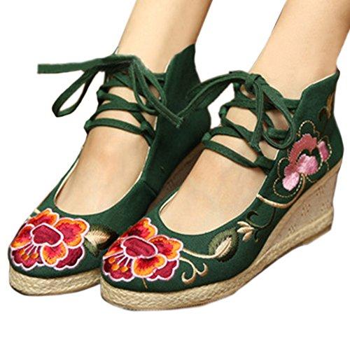 as Elegantes y Grandes con Cu Zapatos Verde de Bordados Flores Bonitos 5xgzRqBwq
