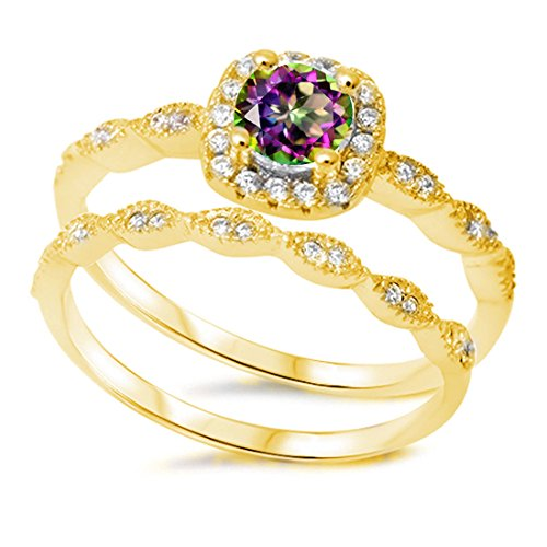 Halo Wedding Band Ring Round Rainbow Cubic Zirconia Clear CZ Yellow Gold Plated 925 Sterling Silver