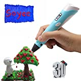 ☼ 3D Pen Doodler - 2nd Gen 3D Drawing Pen, Extra Long 6 Foot Power Cord, 3D Printer Pen Has LED Display, ABS or PLA Compatible (3D Pen Kit With Starter PLA Filament) ☼