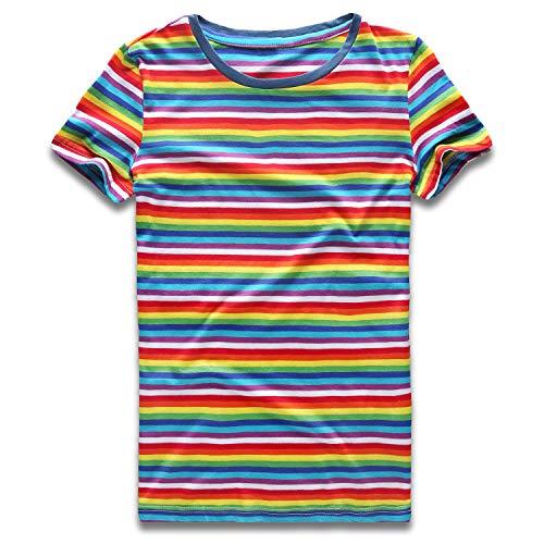 Rainbow T Shirt Women Striped Tee Crew Neck Short Sleeve Stripes Tops Fashion XS ()