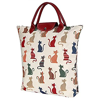 Siganre Tapestry Women White and Red Fold-able Reusable Grocery Shopping Bag Cheeky Cat (FDAW-CHEKY)