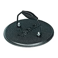 Prensa para asar redonda de hierro fundido LGPR3 de Lodge, pre-sazonada, 7.5 pulgadas